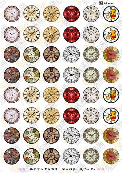 BoYuTe (48 peças / lote) 12mm Rodada Cabochão Mix Relógio / Pássaro / Coroa / Zodíaco / Menina / gato Sinal Imagem Cabochão De Vidro Transparente xl3613