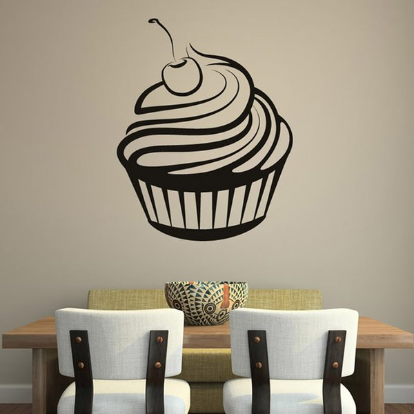 Cherry Cream Cupcake Kitchen Wall Sticker Rermovable Hollow Out Waterproof Vinyl Wall Decal Hot Sale