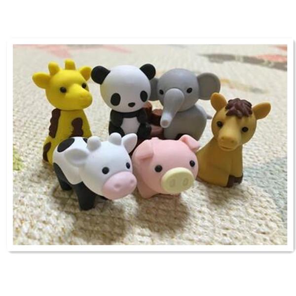Commercio all'ingrosso 28pcs / lot Kawaii Animali Gomme Novità Eraser diversi tipi di gomme animali Panda / Giraffa / Elefante / Mucca Zoo Eraser