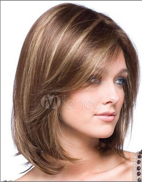 XT886 Asian Women's Fashion Silk Pure Natural Fiber High Temperature Synthesis Type Oblique Bangs Long Hair Wig Streaked Dark Gold Wigs