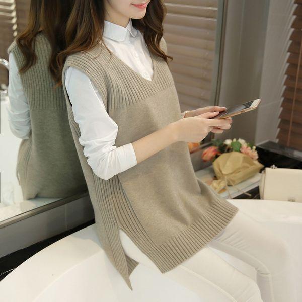 All'ingrosso-2016 nuovo autunno o-collo senza maniche donne maglione gilet femminile coreano casual cashmere lavorato a maglia gilet feminina