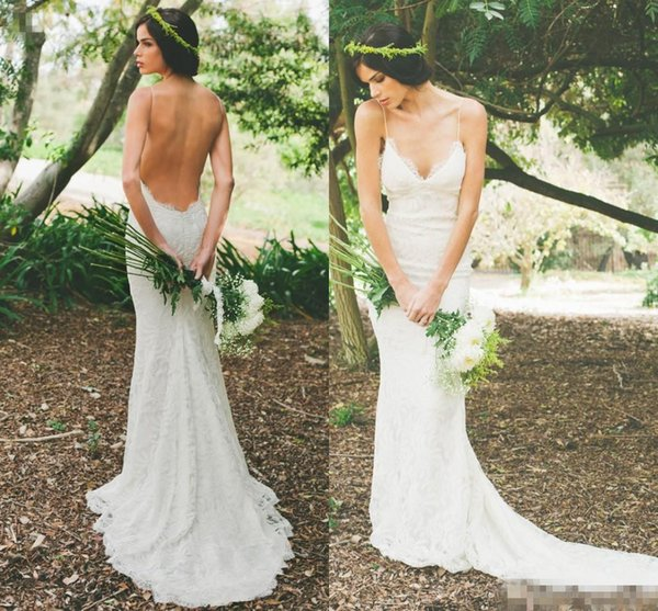 Katie May New 2019 Sexy Backless Wedding Dresses Lace Spaghetti Sheath Garden Beach Sheer Summer Bridal Party Gowns Free Shipping Cheap