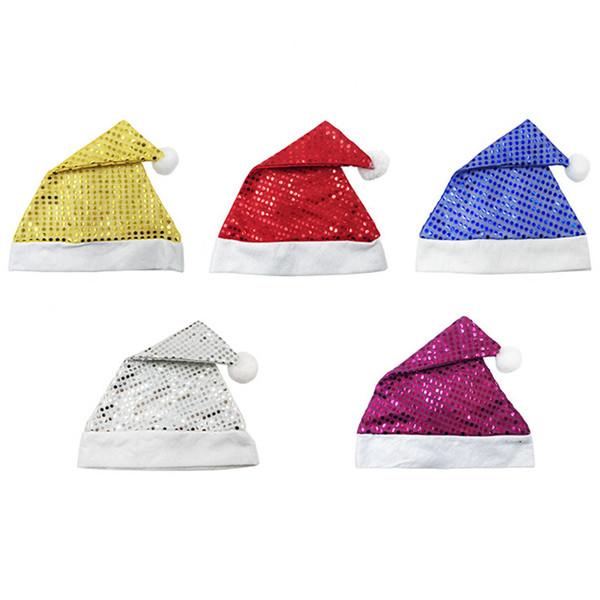 Yetişkinler Için 10 Adet / grup Glitter Noel Şapkalar çocuklar kap Noel Dekorasyon Beyaz Altın Kırmızı Kırmızı Mavi Merry Christmas Parti Şapka ...
