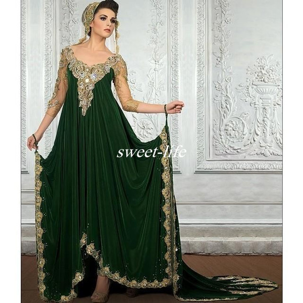 Gorgeous Middle East Design Green Evening Dresses with Sleeves Floor Length Lace Appliques Beaded Dubai Arabic Prom Dresses 2019 Vestidos