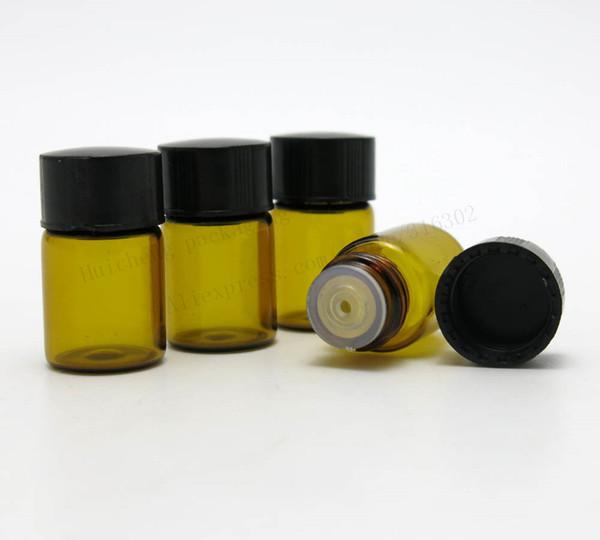 50 x 2 ml Mini frasco cuentagotas de vidrio ámbar 2cc frasco de muestra de Protable vacío para uso en aceites esenciales
