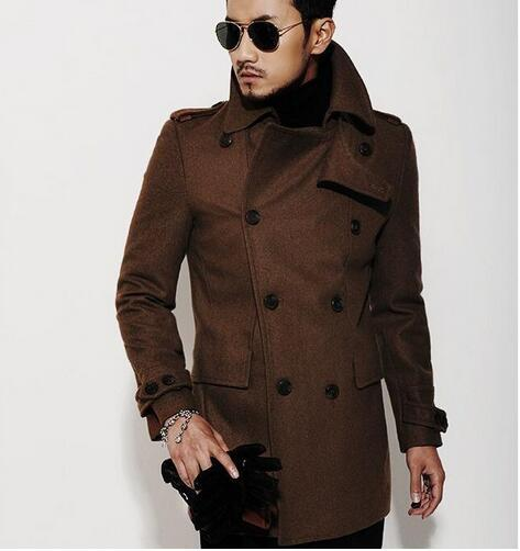 2017 Brown 2016 New Autumn Winter Double Breasted Wool Coat Men ...