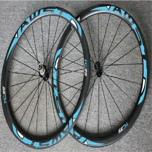 AWST TC 35 blue decal 23mm width 38mm clincher V brake 700C bike road carbon wheels china basalt surface bicycle wheels with powerway hubs