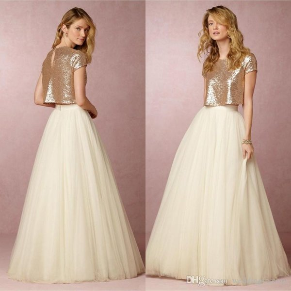 Two Pieces Ivory Bridesmaid Dresses with Sparkly Rose Gold Sequins Skirts Short Sleeves 2017 Cheap Wedding Evening Gowns Maid of Honor Dress
