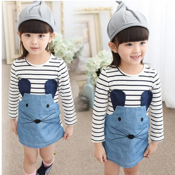 2019 Children Dress Summer Baby Dress Casual Style Long Sleeve Striped Girls Dresses Cotton Lovely Little Mouse Design Girls Clothes