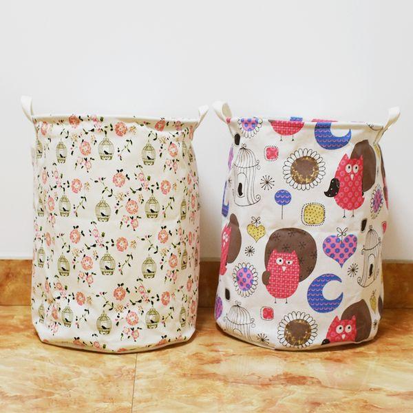 35*45cm Hot Cute Owl Bird Animal Pattern Drawstring Storage bag,Household Folding laundry Foldable Storage Basket Storage Bag