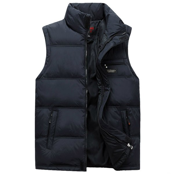 Wholesale- Men Winter Waistcoat Fashion Plus Size Masculine Photographer Vest Thick Duck Down Warm Sleeveless Male Jacket With Pockets 4XL