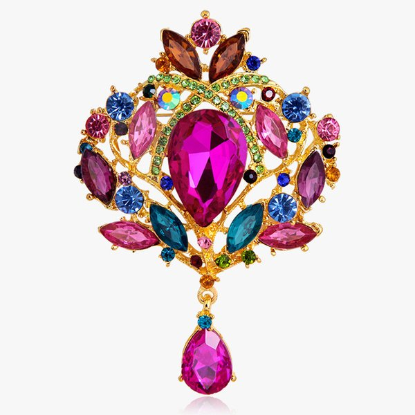 Wholesale High-grade Alloy Diamond Brooches European and American Trade Explosion Models Crown Glass Brooch Pin For Women 12 Colors
