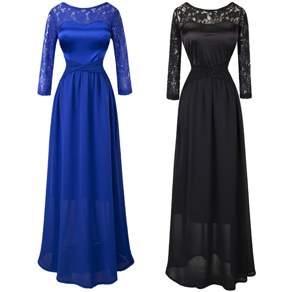 top popular Angel-fashions Women's Fall Black 3 4 Sleeves Long Lace Evening Prom Gown Party Dresses Sheer Dress 013 2019