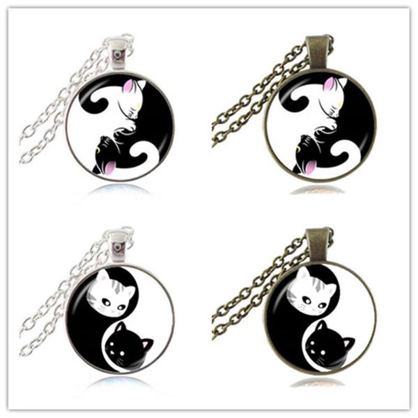 yin yang cat necklace kitty pendant black and white eight diagrams pattern  magic tai chi jewelry