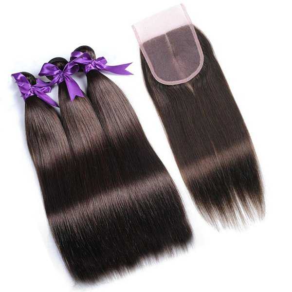 Chocolate Brown Indian Virgin Hair Bundles with Lace Closure #4 Color Medium Brown Straight Human Hair Weaves with Closure 4Pcs Lot