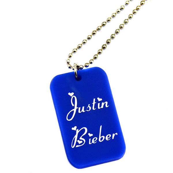 Wholesale 50PCS/Lot Justin Bieber Silicone Dog Tag Necklace with 24 Inch Ball Chain Perfect Gift for Music Fans