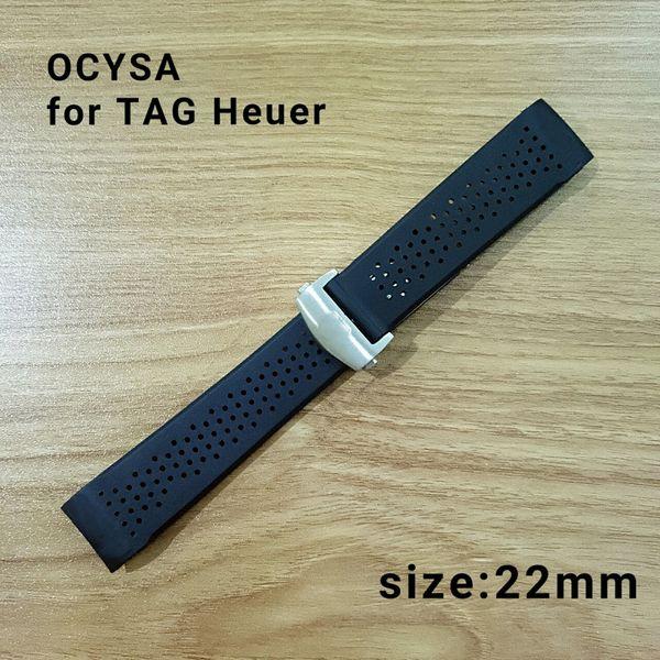 ocysa 22mm Nastro adesivo Cinturino cinturino nero cinturino in pelle con cinturino regolabile