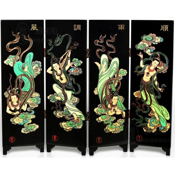 Chinese wind lacquer screen study decoration feng shui ornaments send holiday customer gift for friends and colleagues