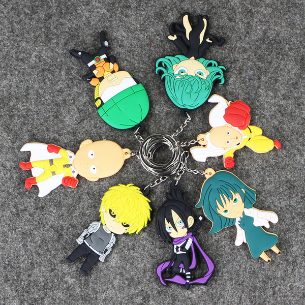 20pcs Mix Design ONE PUNCH-MAN keychains figure anime one punch man supper man pvc keyrings sided for bag pendants