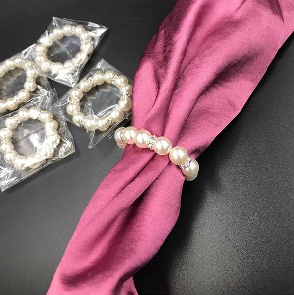 100 Pcs / Lot Blanc Perles De Serviette Anneaux De Mariage Boucle De Serviette De Boucle Pour La Réception De Mariage Table De Décoration Décorations Fournitures I121