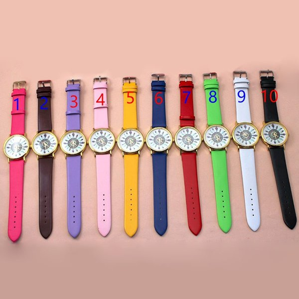 New 10 color fashion leather Quartz Watches Men Women Vintage Feather Dial Analog Unique Leisure Wrist Watch 100pcs/lot