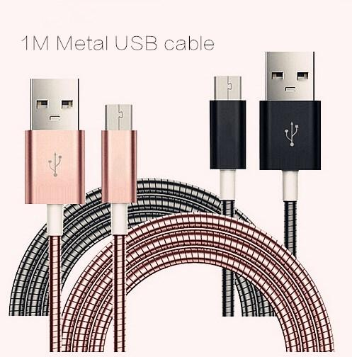 Luxury and Useful USB Cable 1M Metal Spring Mobile Phone Data Charger Cables For Samsung Iphone Tpye