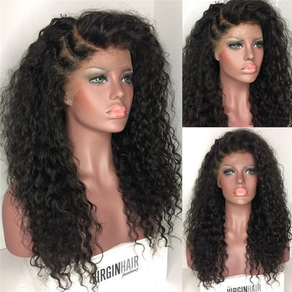 Natural Hairline Virgin Brazilian Hair Front Lace Wig Kinky Curly Glueless Full Lace Wig For Black Women Free Shipping Natural Color