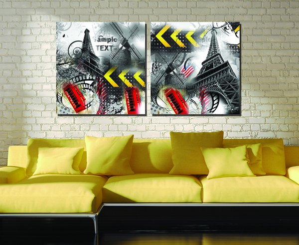 Time-Limited Promotion City Impression Art 2pcs Modular Picture Eiffel Tower The Sitting Room Modern Painting Decoration
