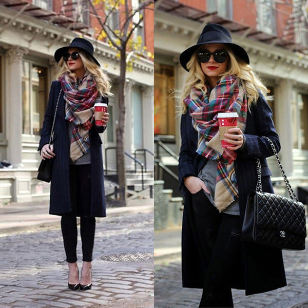 Winter Luxus Plaid Cashmere Schal Frauen Oversized Decke Schal Wrap Warm Wolle Schal Frauen Pashmina Schals und Schals Weihnachtsgeschenk