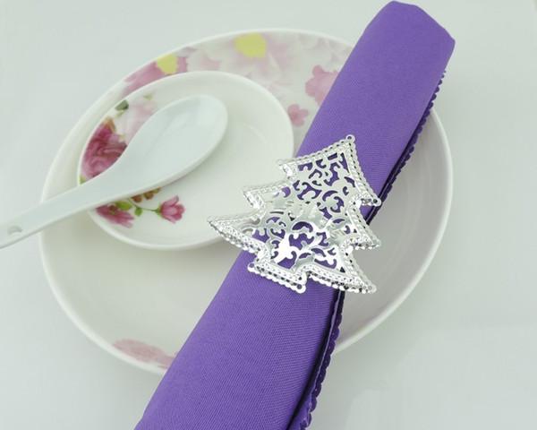 Wholesale- 50pcs/lot Christmas tree napkins napkin ring hollow silver buckle, hotel table decoration napkin ring