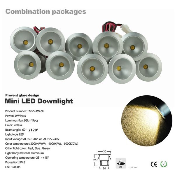 4set round ceiling spot light Mini 1W*9pcs/set mini downlight led 60D 120D Mini led ceiling lamp spotlight led with Dimmable driver CEROHS