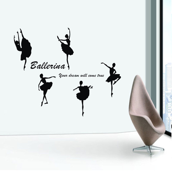 Removable Vinyl Paper art Decal decor Sticker Ballet dance wall stickers child real dance decoration stickers