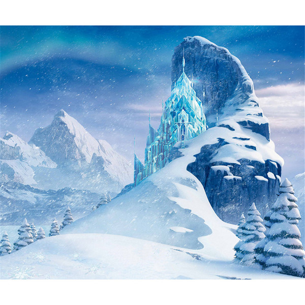 Frozen Palace Princess Backdrop for Photography Iceberg Snow Mountain Girls Birthday Party Stage Backdrops Studio Photo Shoot Backgrounds