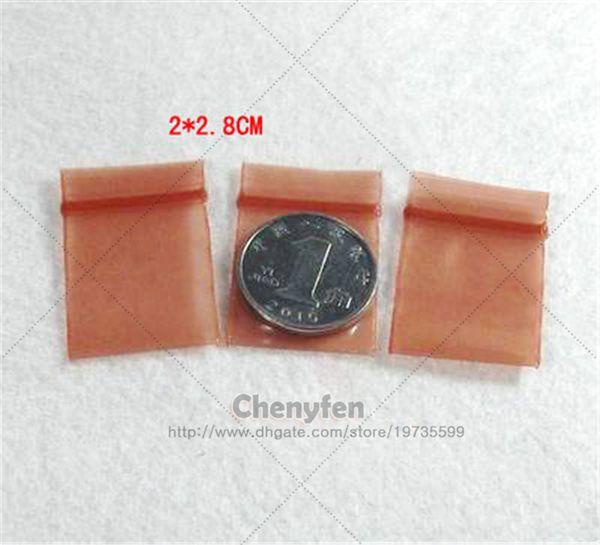 "Free Shipping Small Transparent Brown Color Reclosable Baggies 500pcs 2x2.8cm Mini Plastic Zip Lock Bag 0.8""x1.1"" Poly Tiny Ziploc 8mil"