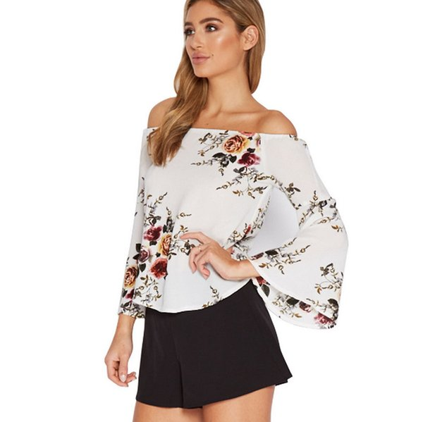Ladies Flora Printed Long Flare/Bell Sleeve Tops Womens Loose Slash Neck Blouse T-Shirt Casual Shirt Tee Off The Shoulder