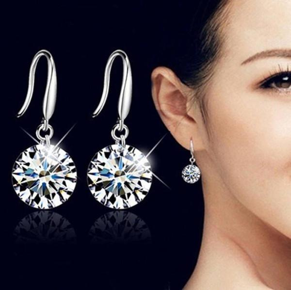 Anti-allergische 925 Sterling Silber Schweizer CZ Diamant-Tropfen-Ohrringe Modeschmuck Schöne Hochzeit / Engagement Geschenk Kristall Dangle Ohrring