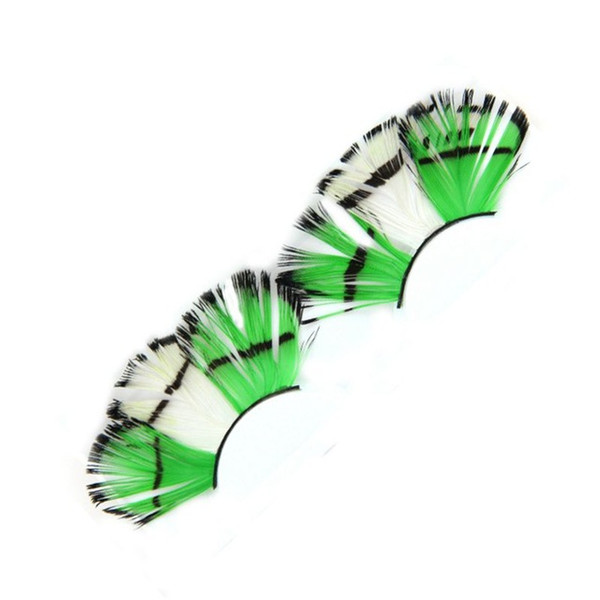 Green White False Eyelashes Exaggerated Color Feathers Stage Catwalk Art Fake Eyelashes Pure Handmade Cotton Stalk Soft Lashes