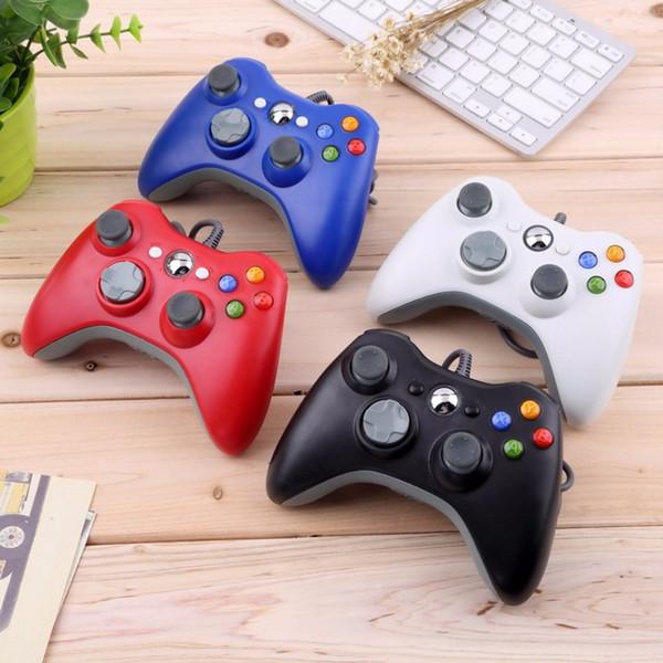 USB Kablolu Joypad Gamepad Için Xbox 360 Konsolu Kablolu Denetleyici XBOX360 PC denetleyici Için Siyah Beyaz Kırmızı Mavi