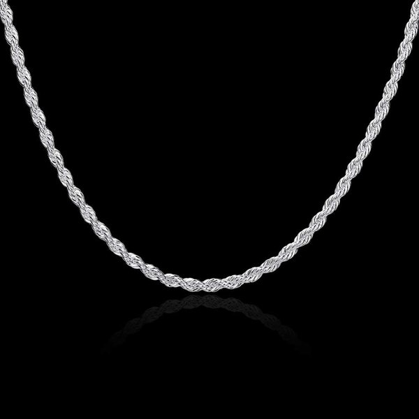 925 Sterling Silver Rope Chains 16inch-24inch Thick 4mm Fashion Rope Necklace/Chain Good Quality Free Shipping N066-1