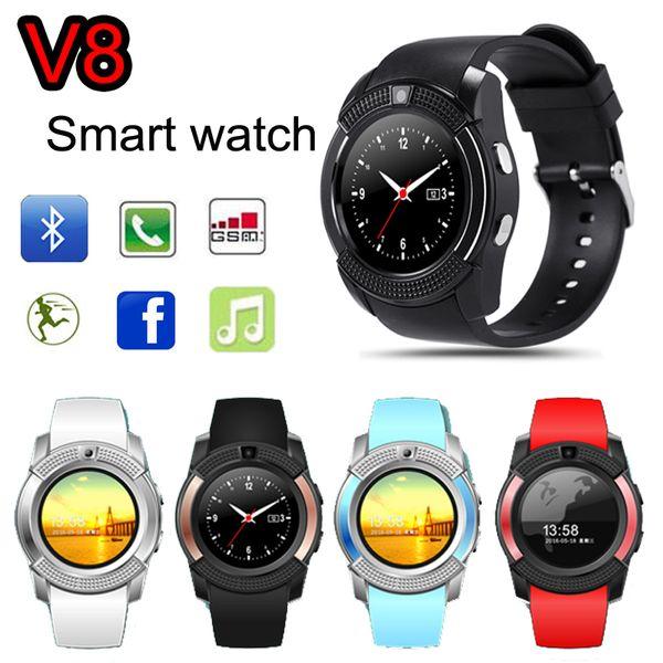 Reloj inteligente V8 Teléfono SIM Dial redondo Pantalla Bluetooth Full HD con cámara de 0.3M MTK6261D Reloj deportivo inteligente Reloj de pulsera portátil VS GT08 DZ09