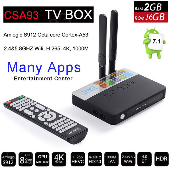 Amlogic S912 Octa Core Smart TV Box Android 7.1 2GB 16GB Bluetooth 2.4G/5G Wifi 17.0 4K H.265 Media Player Airplay PS4 Xbox Game CSA93