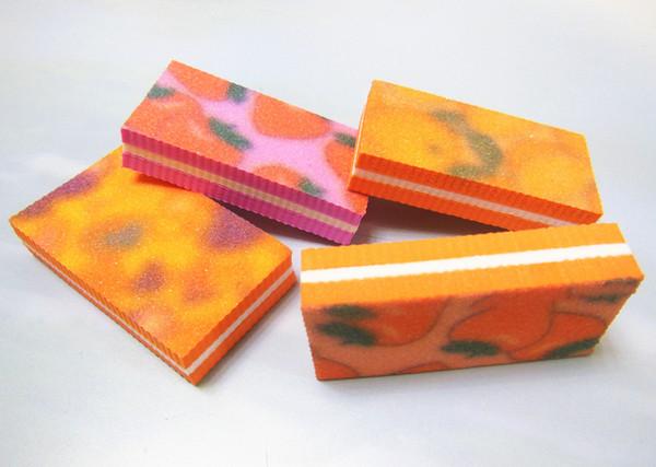 Wholesale- 4 pcs mixed colour mini nail buffer file mini buffer block sponge block manicure tool free shipping
