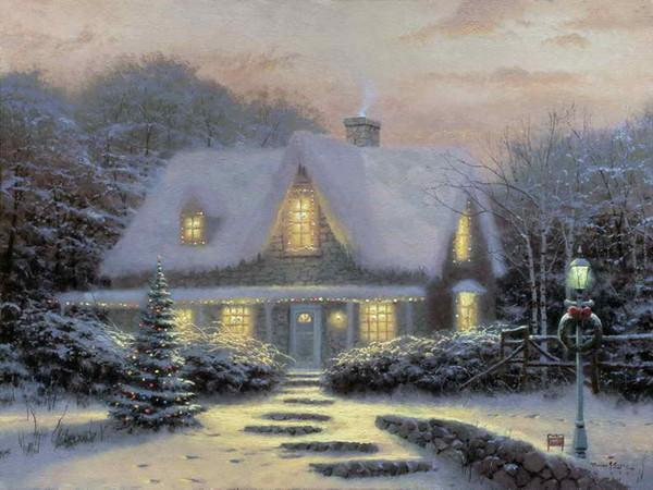 Réveillon De Noël Thomas Kinkade Peintures À L'huile Art Mur Moderne HD Impression Sur Toile Décoration No Frame
