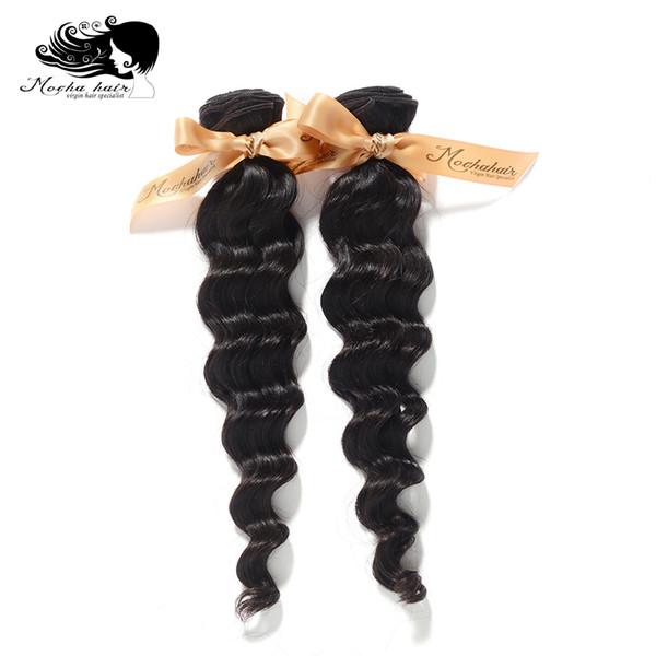 Atacado-Mocha produtos de cabelo virgem cabelo brasileiro onda solta, 100% humano 2pcs muito, grau 8A, cabelo não transformado