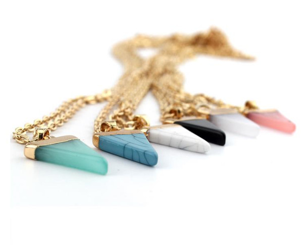 Hot K Nature Stone necklace , Durzy Gold Plated Triangle Quadrihedron, 6 Colors, Cute gift , Free Shipping and hign quality