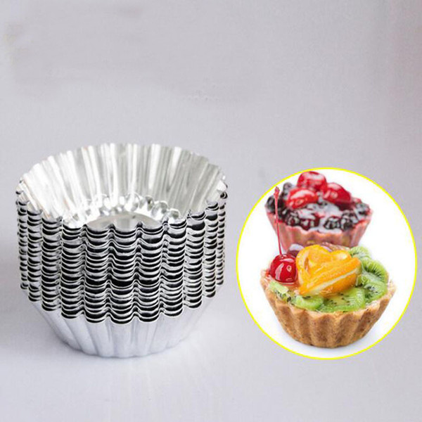 MINI Disposable flower style Aluminum foil cupcake Muffin cups Egg Tart Cup Egg Tart Mold 100Pcs