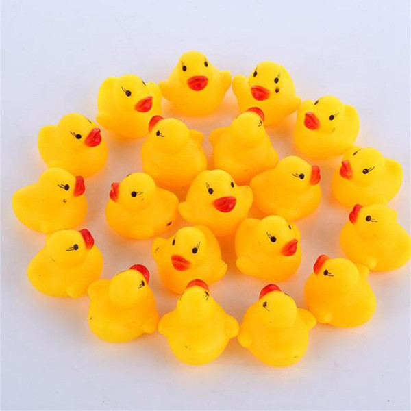 top popular Baby Bath Toy Sound Rattle Children Infant Mini Rubber Duck Swimming Bathe Gifts Race Squeaky Duck Swimming Pool Fun Playing Toy IB255 2020