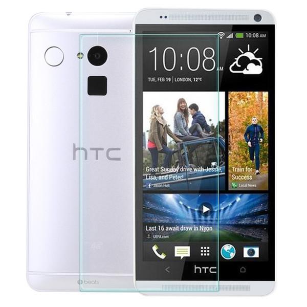Verre trempé 0,26mm pour HTC M7 / M8 / M9 / M9 plus / M10 / E8 / un E9 / un max / 320/526/601 9H Protecteur d'écran LCD 100pcs