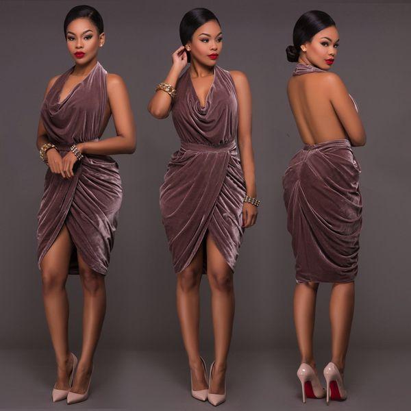 e22687faa68 Halter Velvet Backless Sexy Party Dresses Ruched Knee-Length Short Cocktail  Dresses for Girls Cheap