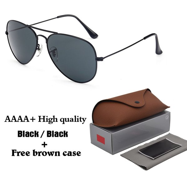 New Arrival (Glass lens) Sunglasses Men Women Metal frame Gradient glass Lens Pilot Sun glasses uv400 Goggle with free brown cases and box